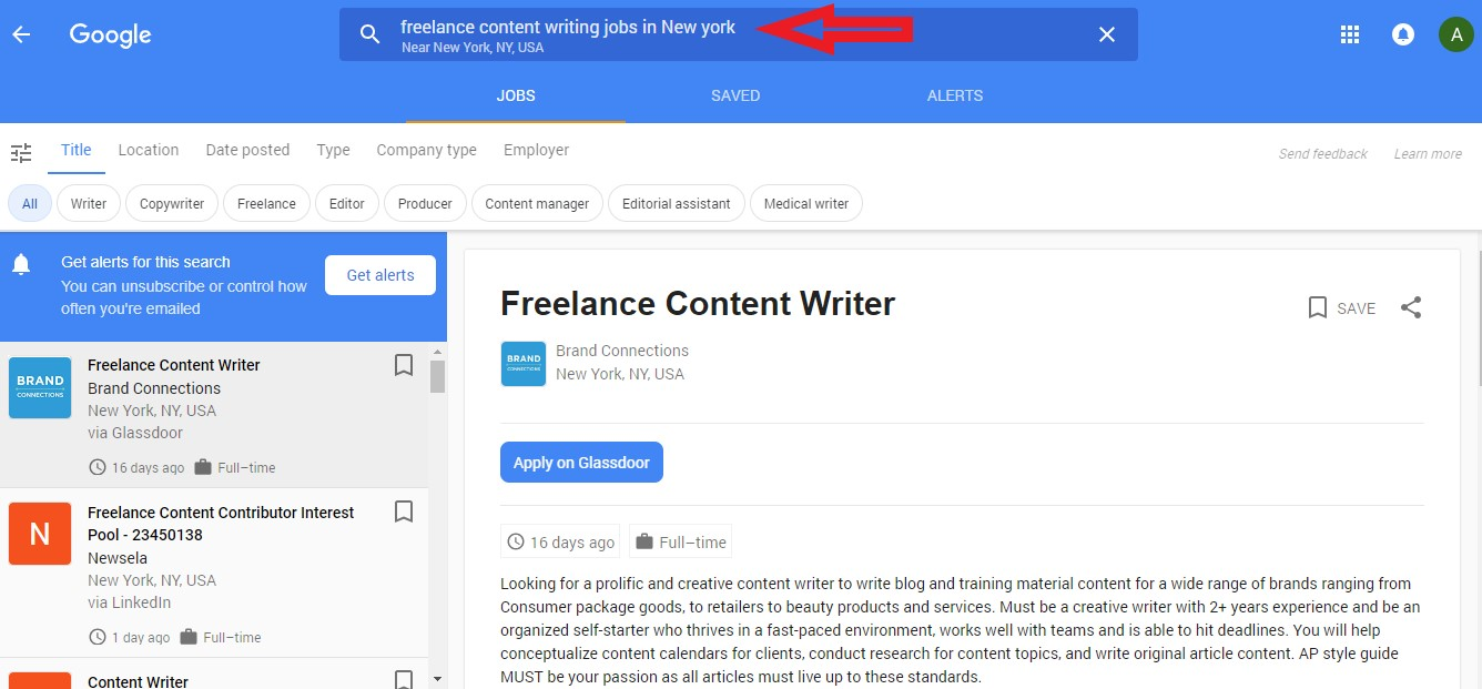 Google jobs find content writing job